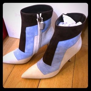 Cream, Blue and Brown Toe Ankle boots